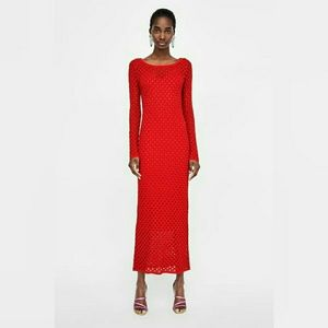 Zara nwt long open knit dress